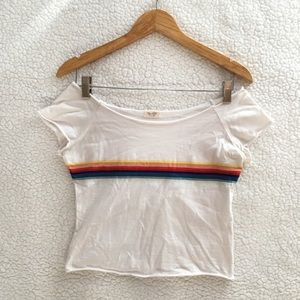 Brandy Melville white rainbow Rin off shoulder top